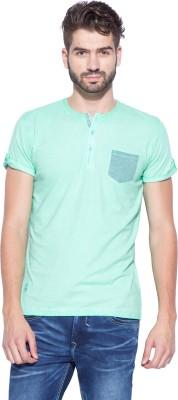 Mufti Solid Men's Henley Light Green T-Shirt