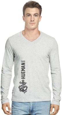 Hueman Printed Men's V-neck Grey T-Shirt