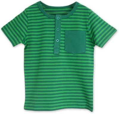 ATUN Striped Baby Boy's Henley Green T-Shirt