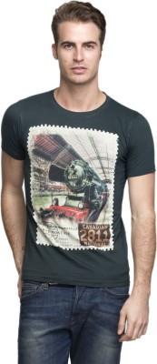 Vsquared Printed Men's Round Neck Green T-Shirt