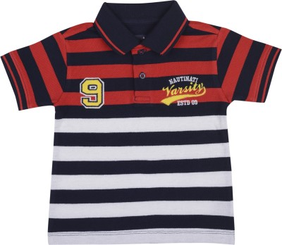 Nauti Nati Striped Boy's Polo Neck Multicolor T-Shirt