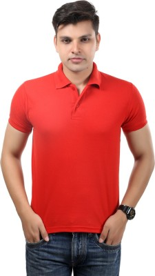 Etoffe Solid Men's Polo Neck Red T-Shirt
