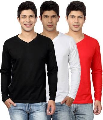 Top Notch Solid Men's V-neck Black, White, Red T-Shirt