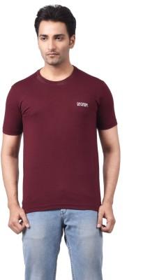Regnum Solid Men's Round Neck Maroon T-Shirt