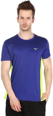 Mizuno Solid Men's Round Neck Blue T-Shirt