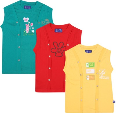 SPN Garments Printed Girl,s Round Neck Green, Red, Yellow T-Shirt