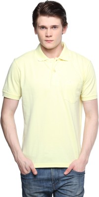Tempt Solid Men's Polo Neck Yellow T-Shirt
