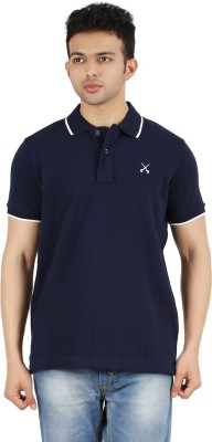 Maniak Solid Men's Polo Neck Dark Blue T-Shirt