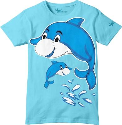 Grasshopr Graphic Print Baby Boy's Round Neck Light Blue T-Shirt