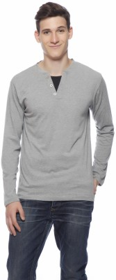 Gritstones Solid Men's Round Neck Grey T-Shirt