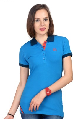 Oriel Merton Solid Women's Polo Blue T-Shirt