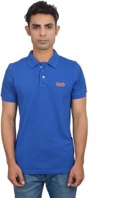 London Eye Solid Men,s Polo Neck Blue, Orange T-Shirt