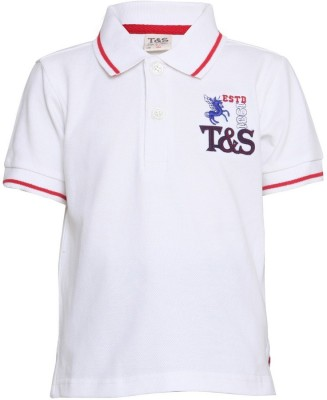 Tales & Stories Solid Boy's Polo Neck T-Shirt