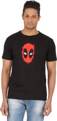 R-CROSS Printed Men,s Round Neck Black T-Shirt