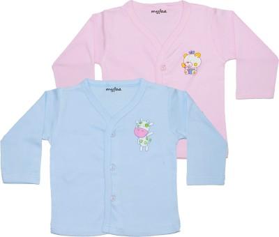 Myfaa Printed Baby Boy's Fashion Neck Pink, Blue T-Shirt