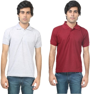 Stylish Trotters Solid Men's Polo Grey, Maroon T-Shirt