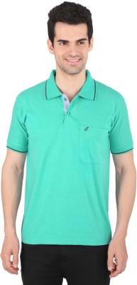 Illicit Nation Solid Men's Flap Collar Neck Green T-Shirt