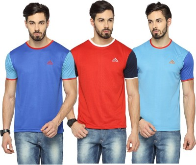 Canyons Solid Men's Round Neck Blue, Red, Light Blue T-Shirt