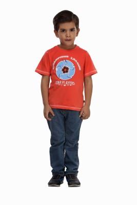 Trmpi Graphic Print Boy's Round Neck Red T-Shirt