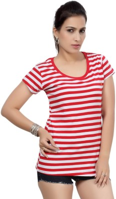 Comix Striped Women's Round Neck Red T-Shirt