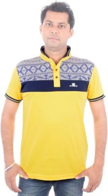 Brandwear Printed Men's Polo Neck Yellow T-Shirt