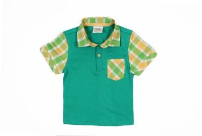 Nahshonbaby Checkered, Solid Baby Boy's Polo Neck Green T-Shirt