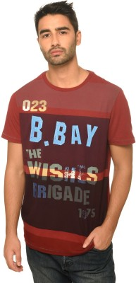 Be Pure Printed Men's Round Neck Maroon T-Shirt