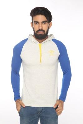 Alan Jones Solid Men's Hooded Grey T-Shirt