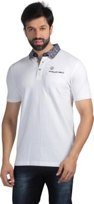 Nostrum Jeans Solid Men's Polo Neck White T-Shirt