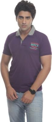 TT Solid Men's Polo Neck Reversible Purple T-Shirt