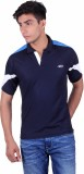 EX10 Solid Men's Polo Neck Dark Blue T-S...