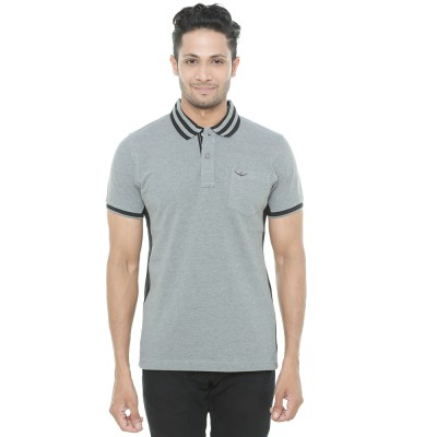 Wexford Solid Men's Polo Neck Grey T-Shirt