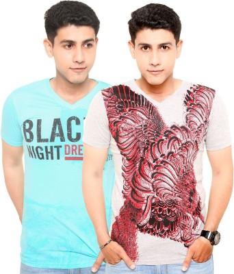 Zwizdot Printed Men,s V-neck Light Blue, Grey T-Shirt