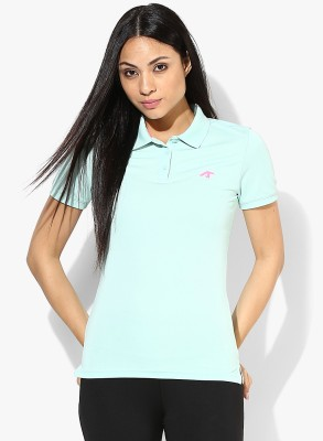 Emerge Solid Women's Polo Neck Light Green T-Shirt