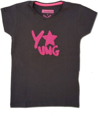 Kuddle Kid Embroidered Girl's Round Neck Multicolor T-Shirt