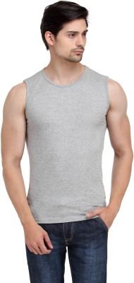 Happy Hippie Solid Men's Round Neck Grey T-Shirt