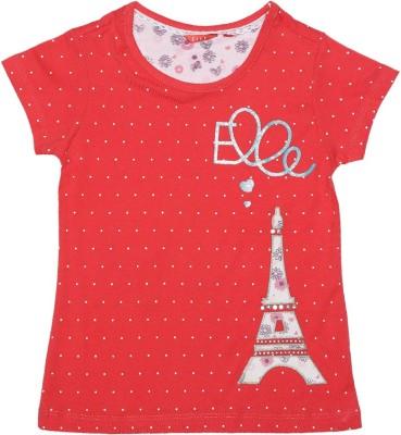 Elle Polka Print Girl's Round Neck Red T-Shirt