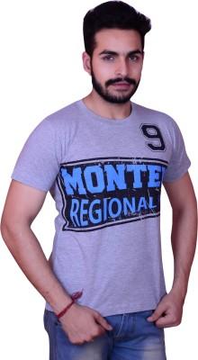 Inez Printed Men's Round Neck Grey T-Shirt