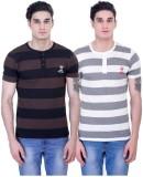 John Caballo Striped Men's Henley Black,...