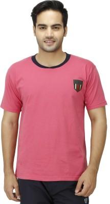 1OAK Solid Men's Round Neck Pink T-Shirt