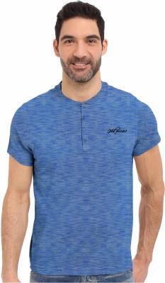 HD Hunter Douglas Solid Men's Henley Blue T-Shirt