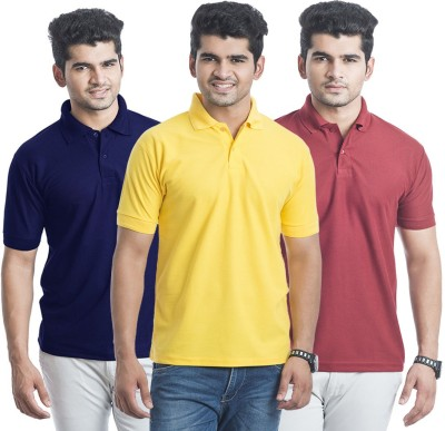 Bainsons Solid Men,s Polo Maroon, Yellow, Blue T-Shirt
