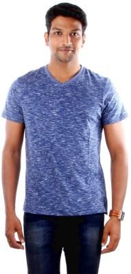 Indian Terrain Solid Men's V-neck Blue T-Shirt