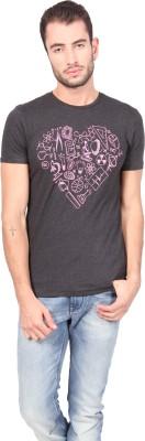 Geekly Printed Men,s Round Neck Black T-Shirt