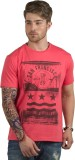 HotTribes Printed Men's Round Neck Red T...