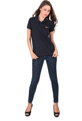 Urbanlyf Solid Women's Polo Neck T-Shirt