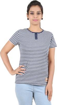 Recca Striped Women,s Round Neck Dark Blue, White T-Shirt