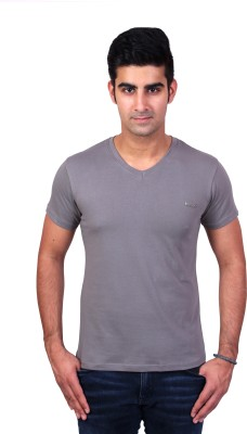 Bridge Solid Men's V-neck Grey T-Shirt