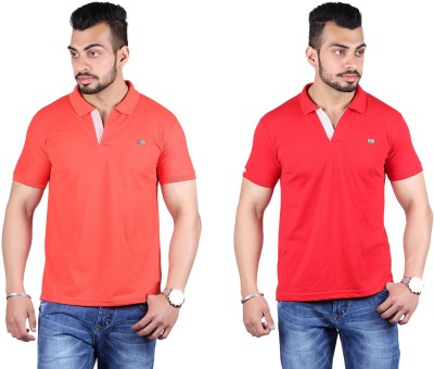 Shineway Solid Men's Polo Neck Red, Red T-Shirt