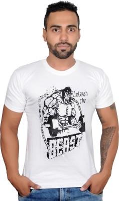Boxrox Fitness Printed Men's Round Neck White T-Shirt